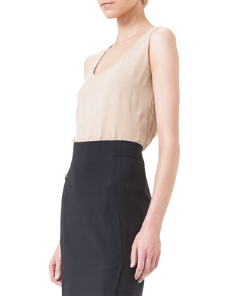 Scoop-Neck Georgette Tank Top, Nude