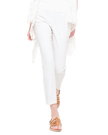 Conny Double-Faced Slim Ankle Pants, Calcite