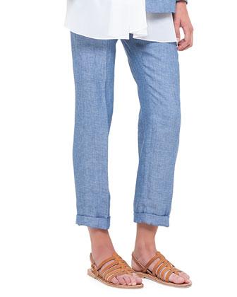 Frank Flat-Front Linen Pants, Chefchaouen