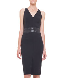 Swarovski Crystal-Embellished Sheath Dress, Black