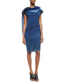 Secret Door-Print Boat-Neck Sheath Dress