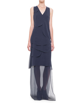 Sleeveless Asymmetric-Overlay Gown, Navy