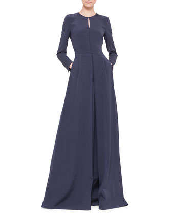 Long-Sleeve Silk Crepe Pleated A-Line Gown, Navy