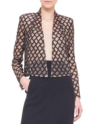 Lattice Lace-Over-Tulle Jacket, Black