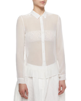 Sheer Chiffon Button Blouse, Ivory