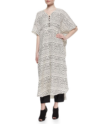 Striped Mixed-Print Long Caftan, Cream/Black