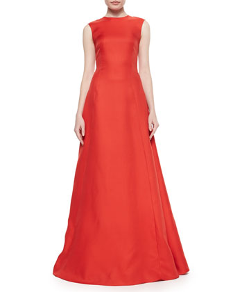 Sleeveless Crewneck Crepe Gown, Flame
