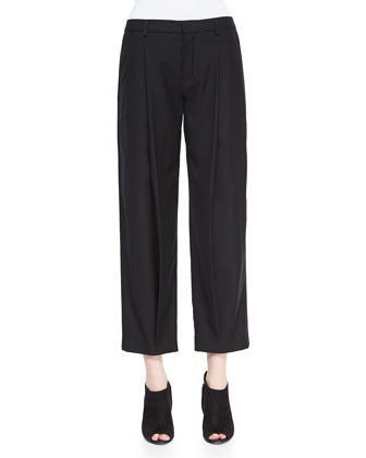 Front-Pleated Tapered Ankle Pants, Black