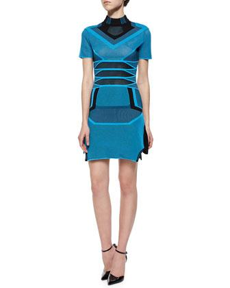 Short-Sleeve Bicolor Mesh Stripe Dress