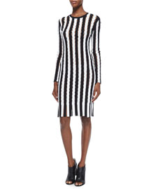 Long-Sleeve Striped Open-Knit Sheath Dress