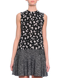 Floral-Print Shell Top, Black/White