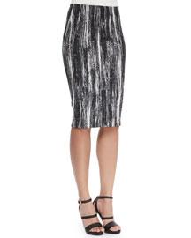 Brushstroke-Print Tube Pencil Skirt