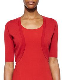 Merino Wool Half-Sleeve Shrug, Crimson