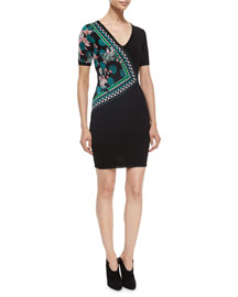 Side-Printed Knit Sheath Dress
