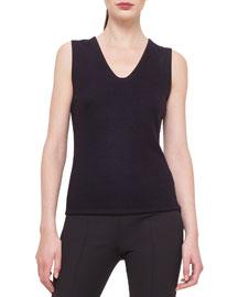 Bicolor Reversible Cashmere-Blend Jersey Top, Clematis/Black