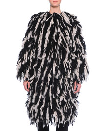 Fringe Shaggy Wool-Blend Coat, Black/White