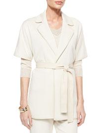 Milano Knit Short-Sleeve Tie Jacket