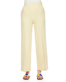 Wide-Leg Stretch Wool Pants, Light Yellow