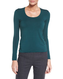Long-Sleeve Jewel-Neck Striped Top, Bottle Green