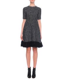 Jewel-Neck Cashmere Dress w/Fringe Hem