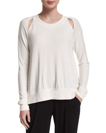 Long-Sleeve Double-Slash Top, Ivory