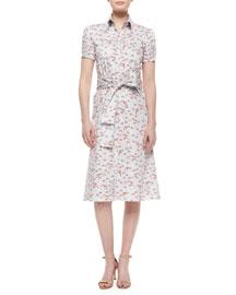 Belted Mushroom-Print Shirtdress