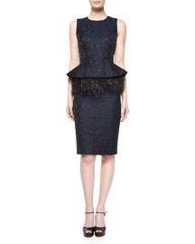 Sleeveless Feather-Peplum Sheath Dress, Navy/Black