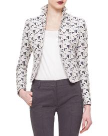 Cropped Dot-Print Jacket