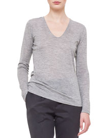 V-Neck Long-Sleeve Jersey Top, Silver