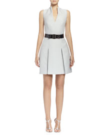 Box-Pleated Fit-and-Flare Dress, Silver Blue