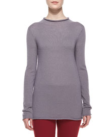 Long-Sleeve Fitted Fine-Knit Sweater, Light Lilac