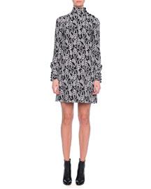 Floral-Print Button-Neck Dress