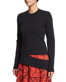 Long-Sleeve Slash Sweater, Black
