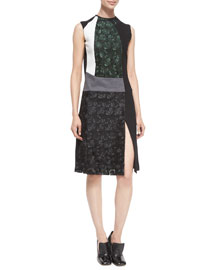 Mixed-Media Sleeveless Lace Dress