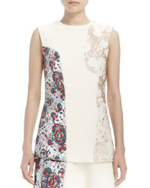 Sleeveless Brocade Patch Top, Winter White