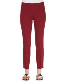 Skinny Side-Zip Stretch-Wool Canvas Pants, Crimson Red