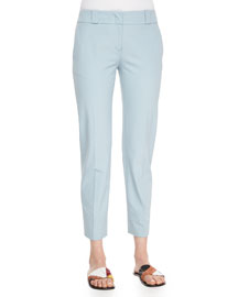 Double-Stretch Twill Cropped Pants, Nile Blue