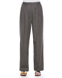 Pleated-Front Wide-Leg Birdseye Pants, Gray Melange