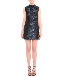 Butterfly-Print Tie-Neck Dress