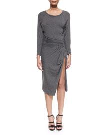 Bateau-Neck Split-Skirt Dress