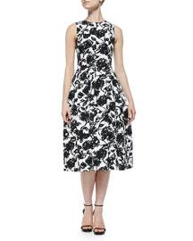 Floral-Print Bell-Skirt Midi Dress