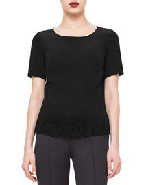 Short-Sleeve Fringe-Hem Blouse, Black