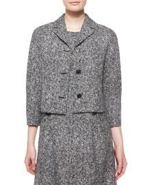3/4-Sleeve Tweed Jacket, Black/White
