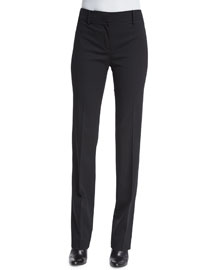 Straight-Leg Flat-Front Pants, Black