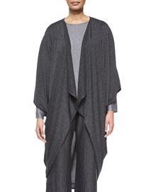 Jersey Drape-Front Cocoon Sweater, Charcoal