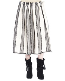 Striped A-Line Skirt with Frayed Edging, Ecru/Black