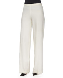 Rista Side-Zip Wide-Leg Pants, Bright White