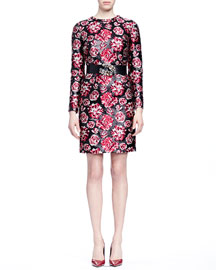 Bracelet-Sleeve Floral-Jacquard Sheath Dress