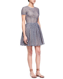 Lattice Gingham Fit-and-Flare Dress, Indigo/White