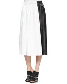 Bicolor Paper Leather Midi Skirt